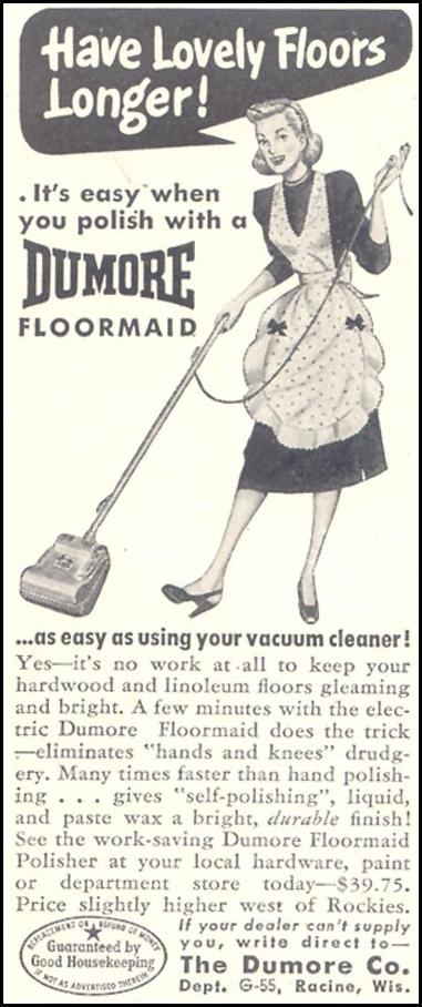 DUMORE FLOORMAID POLISHER GOOD HOUSEKEEPING 07/01/1948 p. 234