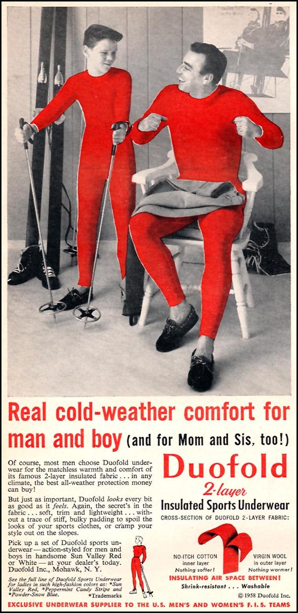DUOFOLD 2-LAYER INSULATED SPORTS UNDERWEAR SPORTS ILLUSTRATED 01/12/1959 p. 36
