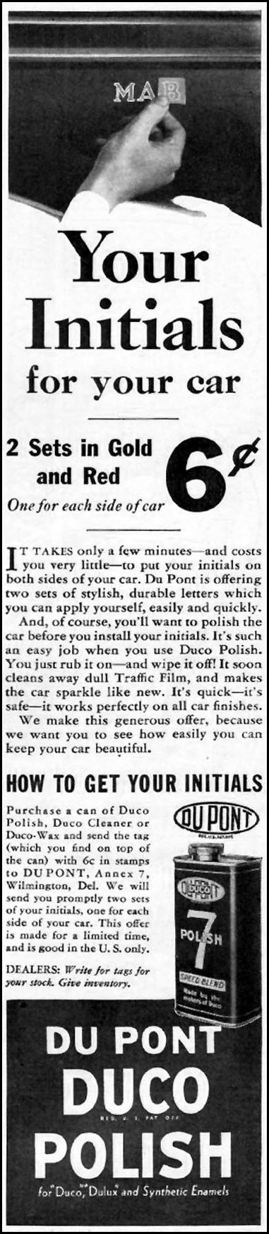DU PONT DUCO POLISH BETTER HOMES AND GARDENS 05/01/1936 p. 113