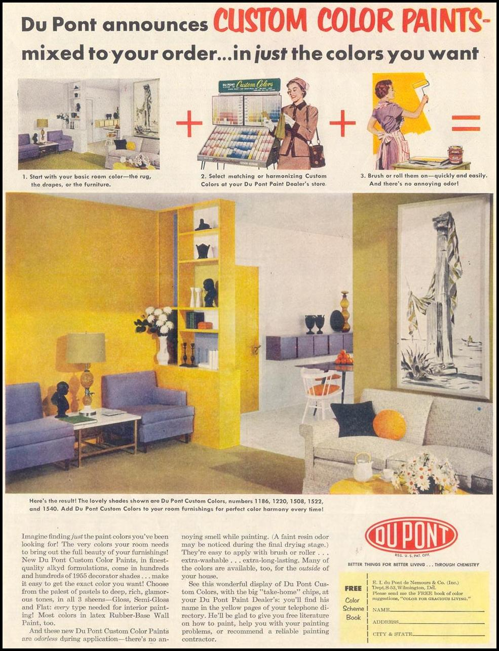 DU PONT CUSTOM COLOR PAINT SATURDAY EVENING POST 03/26/1955 p. 11