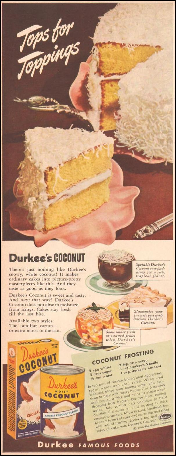 DURKEE'S COCONUT LADIES' HOME JOURNAL 11/01/1950 p. 80