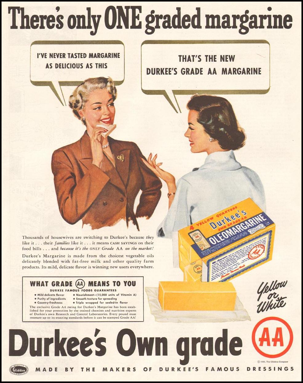 DURKEE'S OLEOMARGARINE LADIES' HOME JOURNAL 11/01/1950 p. 230