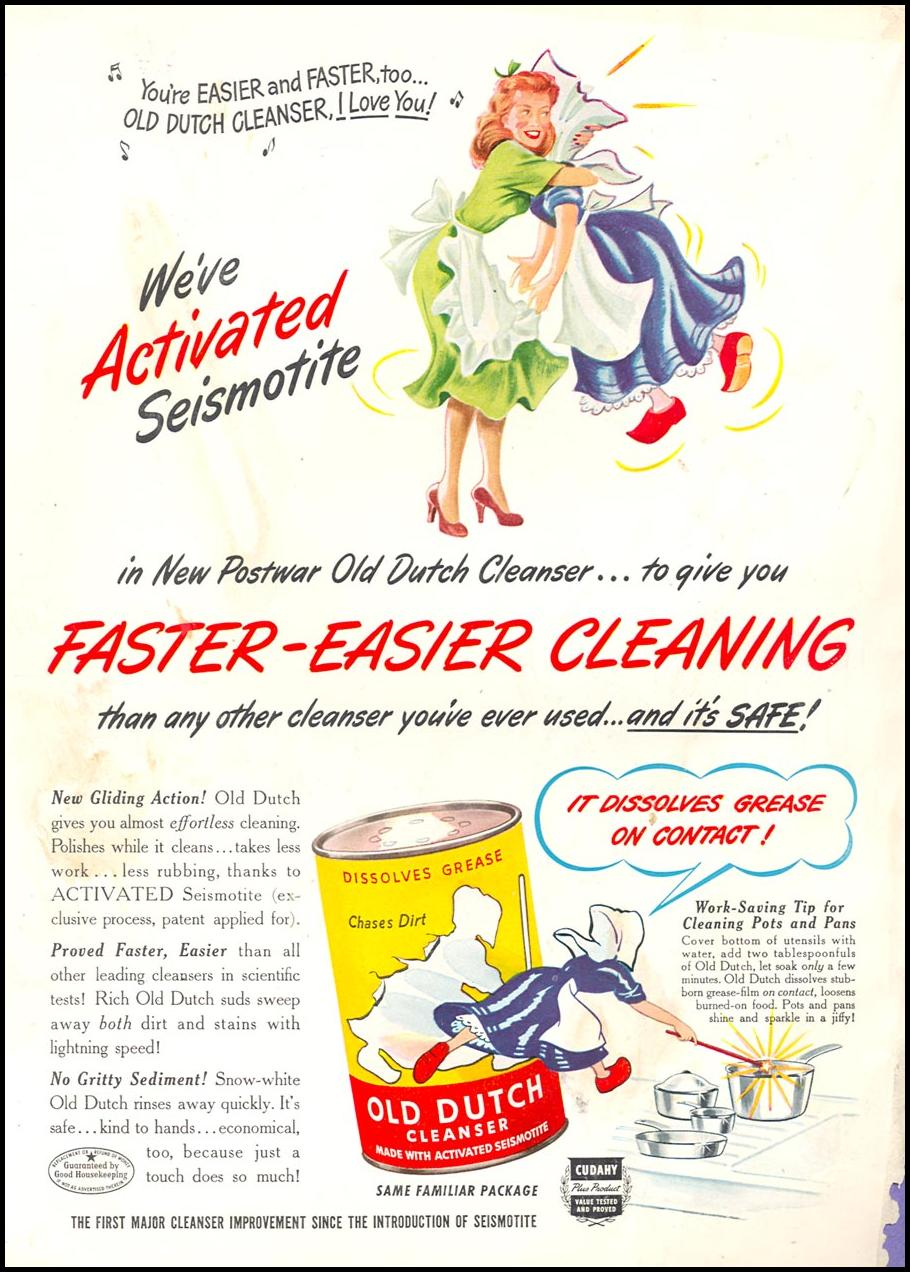 OLD DUTCH CLEANSER WOMAN'S DAY 05/01/1949 BACK COVER