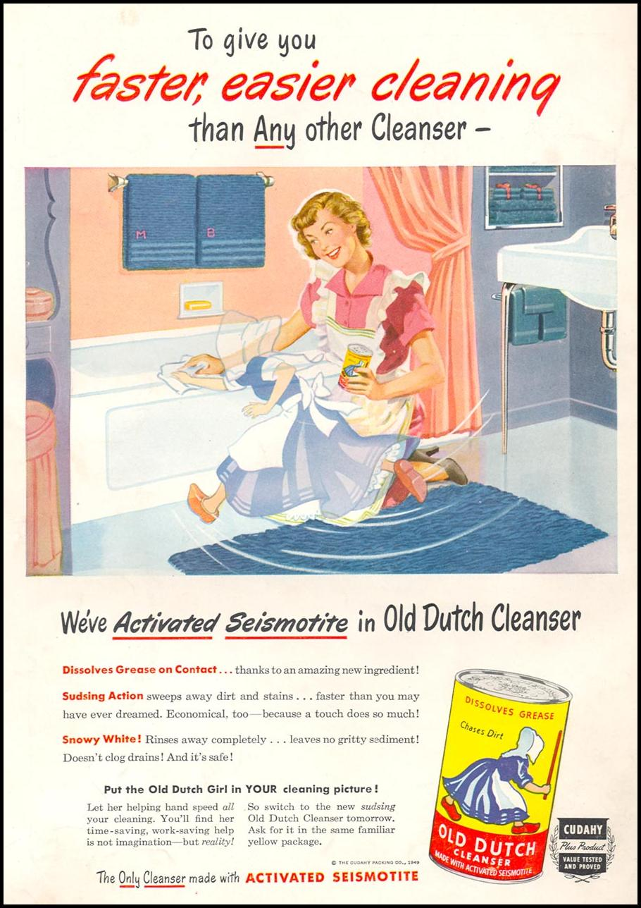 OLD DUTCH CLEANSER WOMAN'S DAY 12/01/1949 BACK COVER