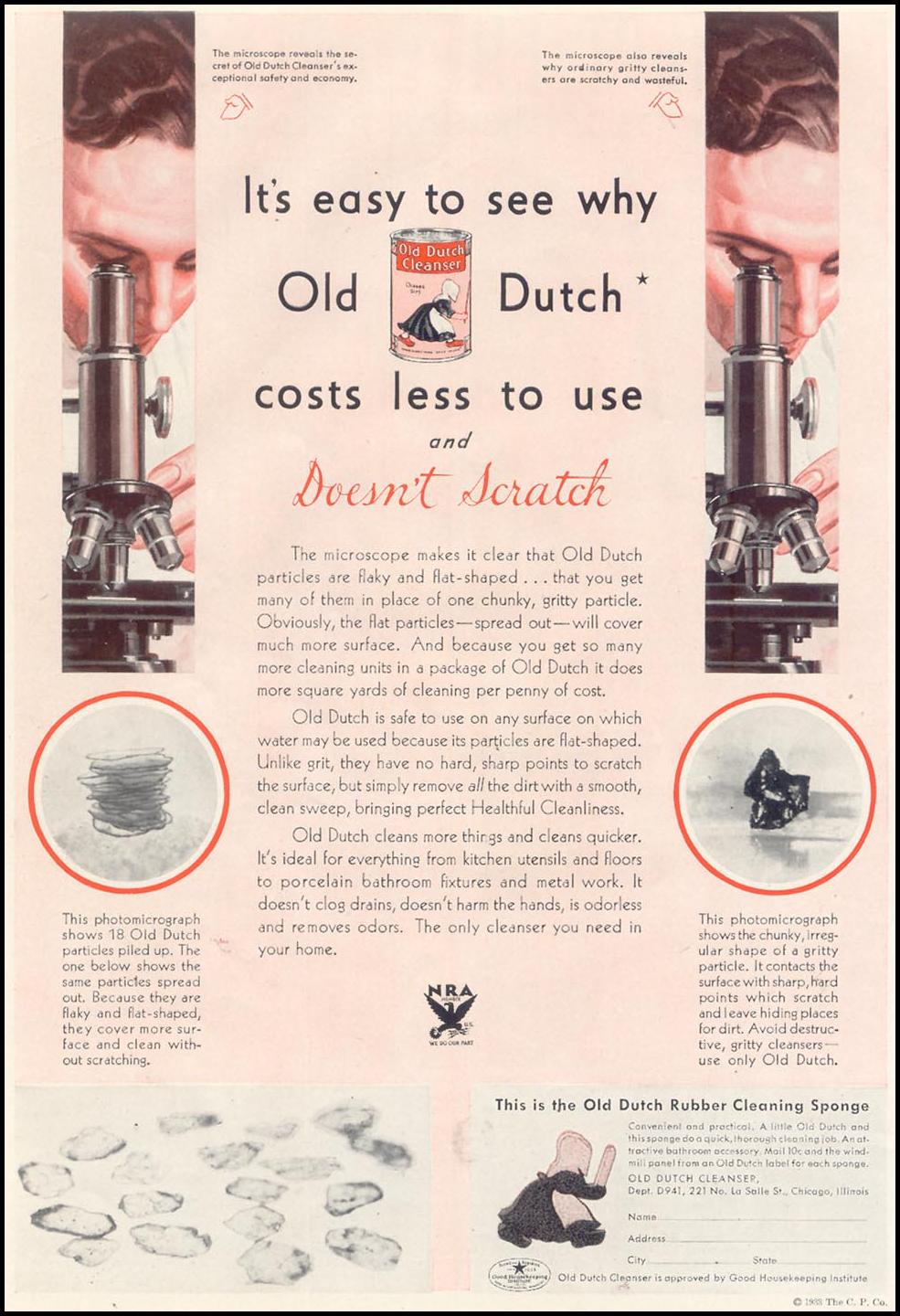 OLD DUTCH CLEANSER GOOD HOUSEKEEPING 11/01/1933