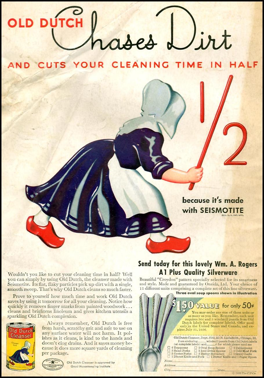 OLD DUTCH CLEANSER GOOD HOUSEKEEPING 04/01/1936 BACK COVER