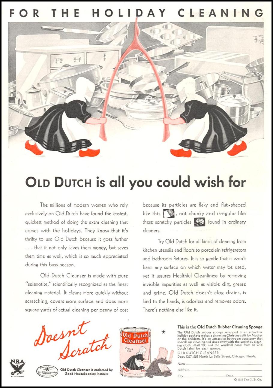 OLD DUTCH CLEANSER GOOD HOUSEKEEPING 12/01/1933 p. 125