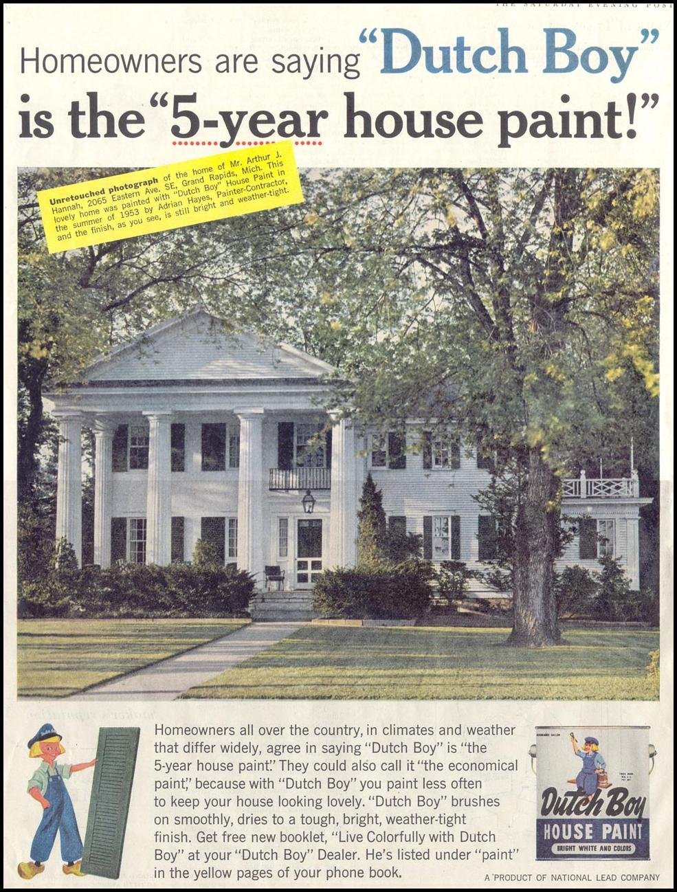 DUTCH BOY HOUSE PAINT SATURDAY EVENING POST 08/15/1959 p. 90