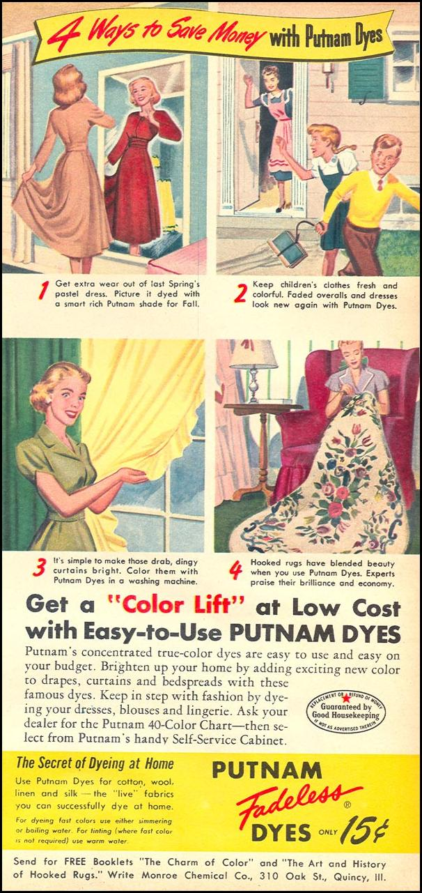 PUTNAM FADELESS DYES WOMAN'S DAY 10/01/1949 p. 17