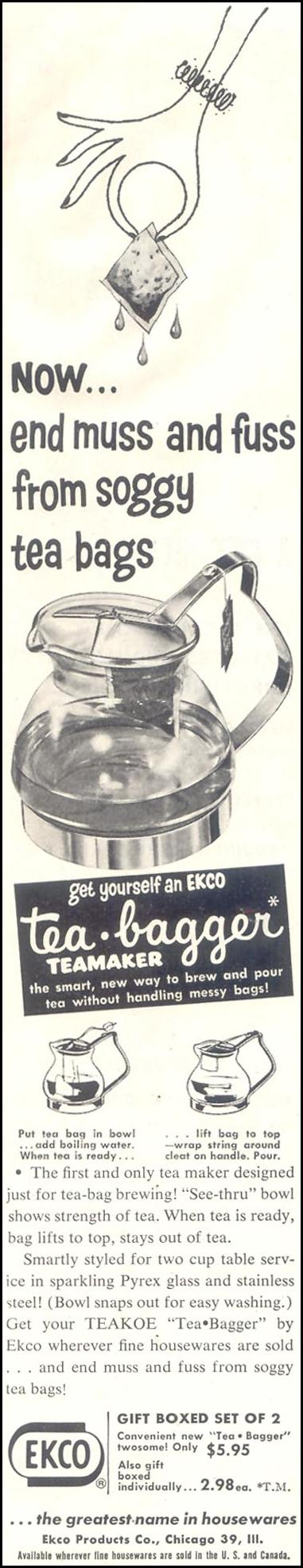 EKCO TEA-BAGGER TEAMAKER SATURDAY EVENING POST 12/10/1955 p. 58