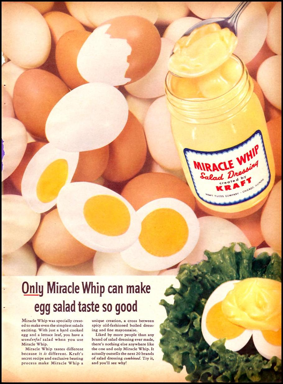 MIRACLE WHIP SALAD DRESSING FAMILY CIRCLE 02/01/1957 p. 49
