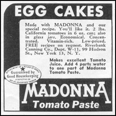 MADONNA TOMATO PASTE WOMAN'S DAY 11/01/1945 p. 106