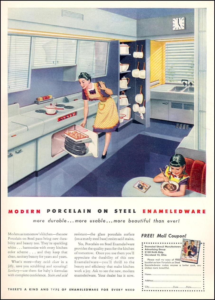 MODERN PORCELAIN ON STEEL ENAMELEDWARE WOMAN'S DAY 04/01/1946 INSIDE BACK