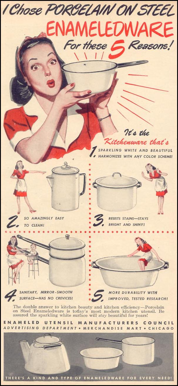ENAMELED KITCHENWARE WOMAN'S DAY 09/01/1946 p. 3