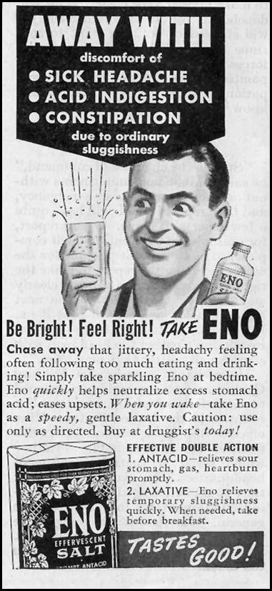 ENO EFFERVESCENT SALT SATURDAY EVENING POST 10/06/1945 p. 106