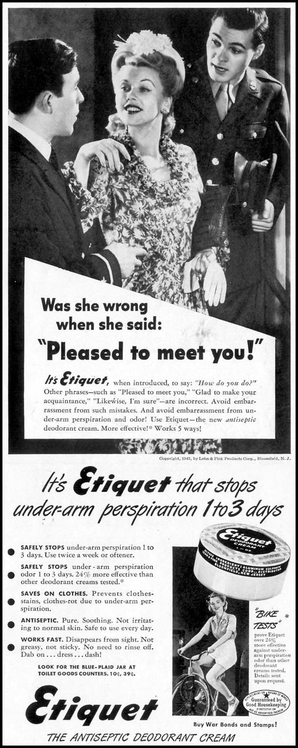 ETIQUET DEODORANT CREAM LIFE 05/24/1943 p. 97