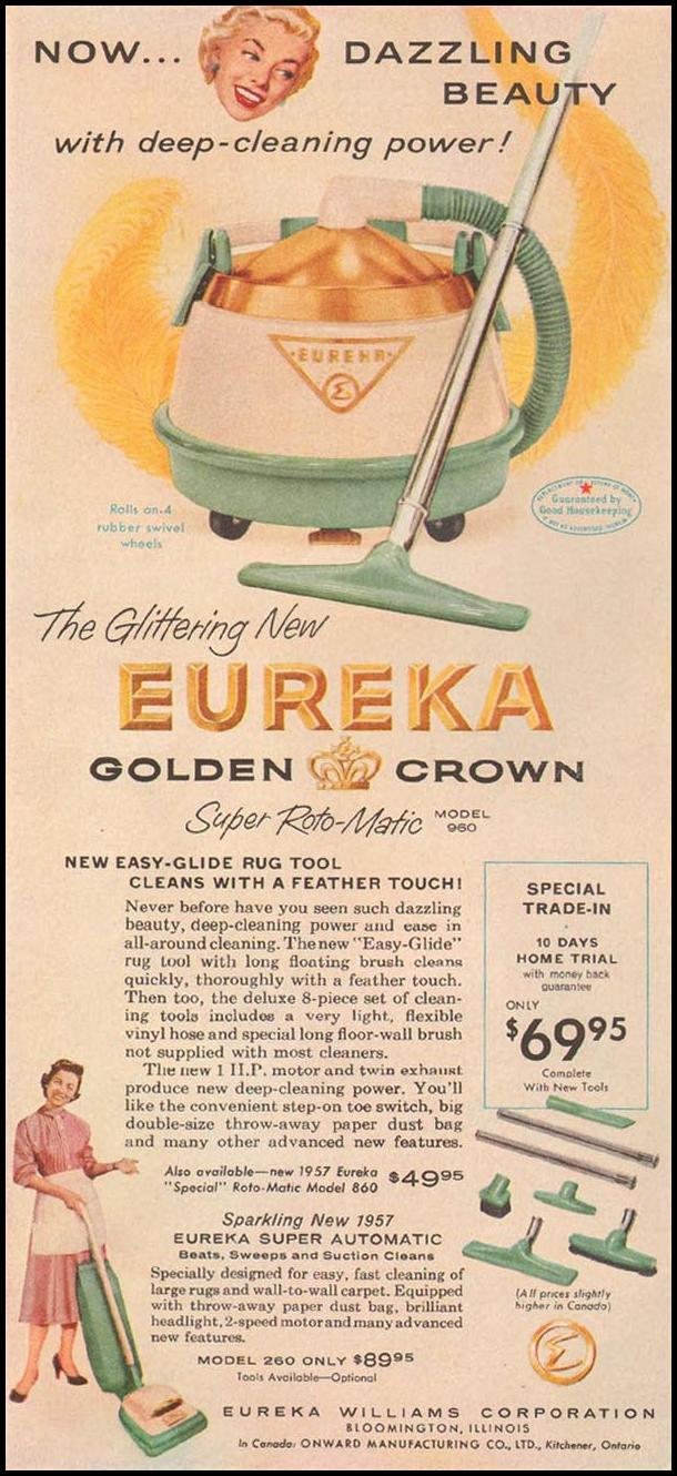 EUREKA GOLDEN CROWN VACUUM CLEANERS GOOD HOUSEKEEPING 05/01/1957 p. 34