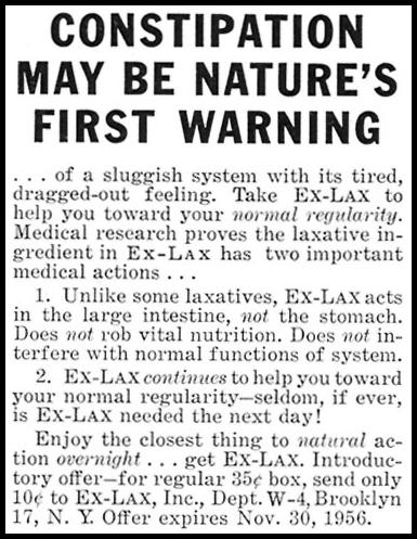 EX-LAX CHOCOLATED LAXATIVE WOMAN'S DAY 10/01/1956 p. 144