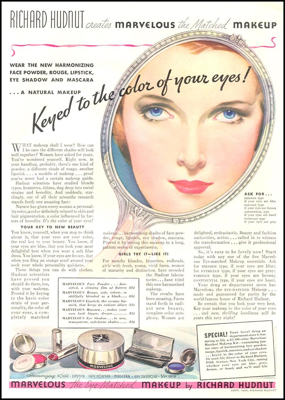 MARVELOUS EYE MATCHED MAKEUP GOOD HOUSEKEEPING 04/01/1936