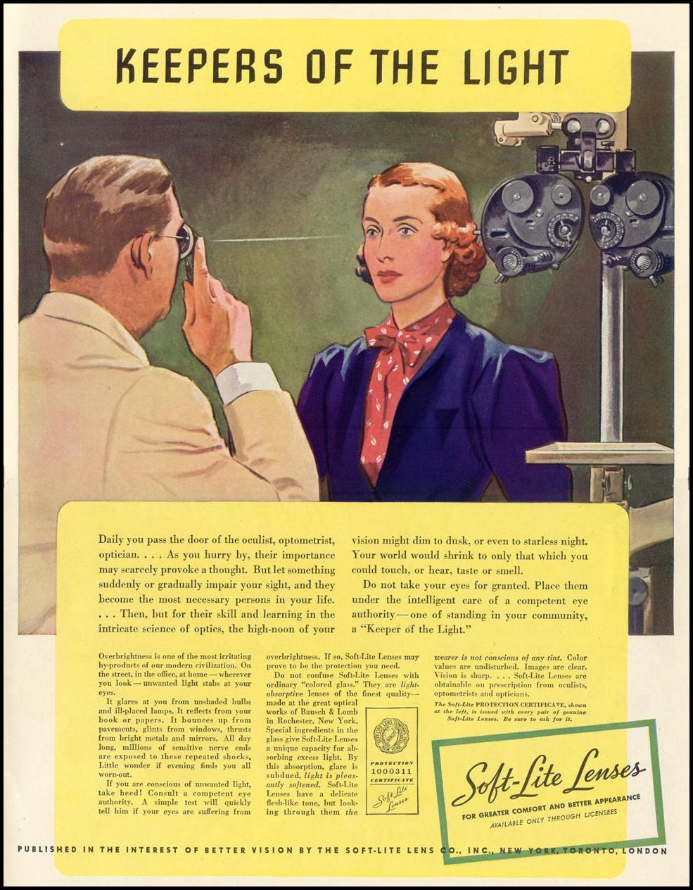 SOFT-LITE LENSES LIFE 09/27/1937