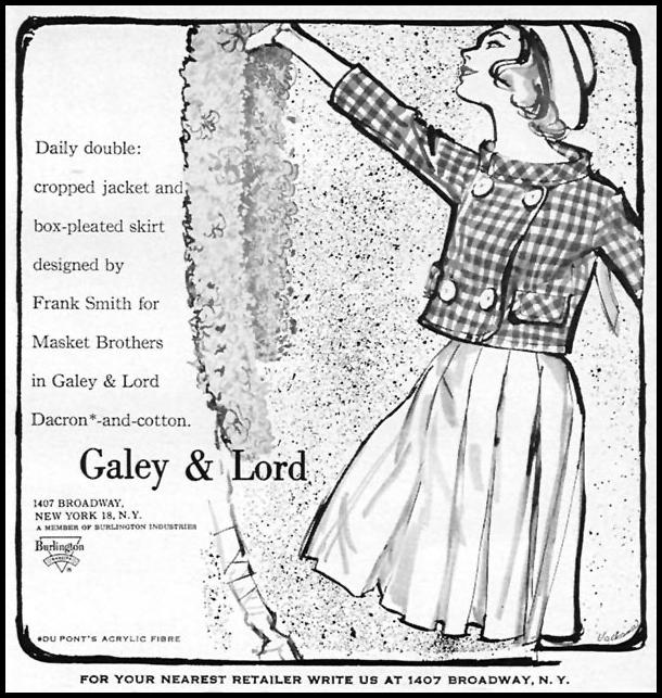 GALEY & LORD FABRIC SPORTS ILLUSTRATED 05/25/1959 p. 7