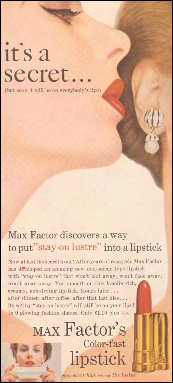 MAX FACTOR'S COLOR-FAST LIPSTICK LADIES' HOME JOURNAL 03/01/1954 p. 87