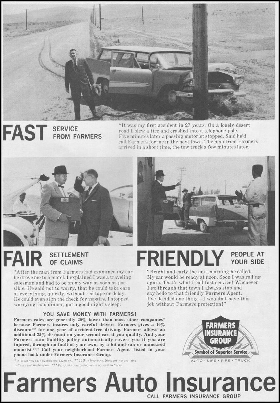 FARMERS AUTO INSURANCE SATURDAY EVENING POST 06/11/1960 p. 103