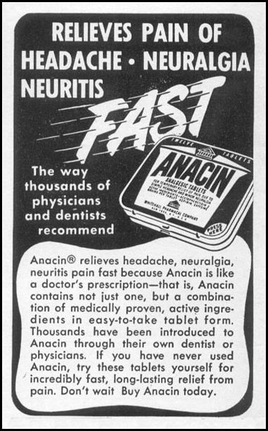 ANACIN ANALGESIC TABLETS LIFE 10/13/1952 p. 172