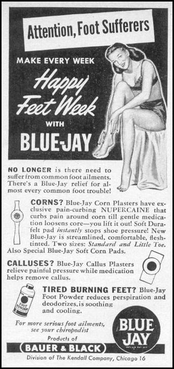 BLUE JAY FOOT CARE PRODUCTS WOMAN'S DAY 06/01/1946 p. 87