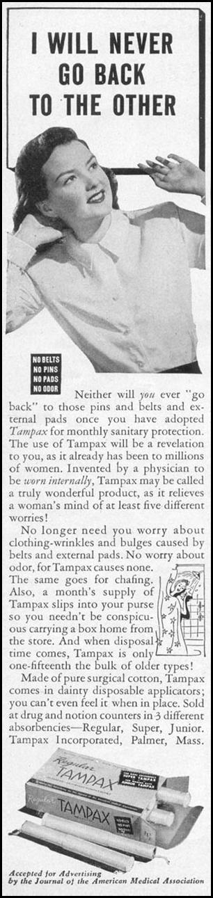 TAMPAX WOMAN'S DAY 05/01/1947 p. 104