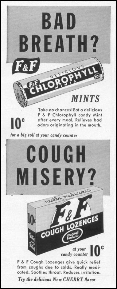 CHLOROPHYLL MINTS AND COUGH LOZENGES LIFE 10/13/1952 p. 144