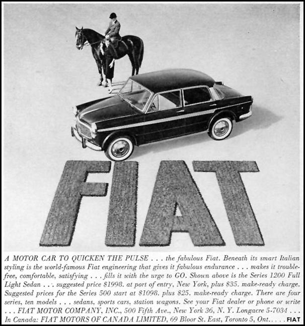 FIAT AUTOMOBILES SPORTS ILLUSTRATED 05/11/1959 p. 5