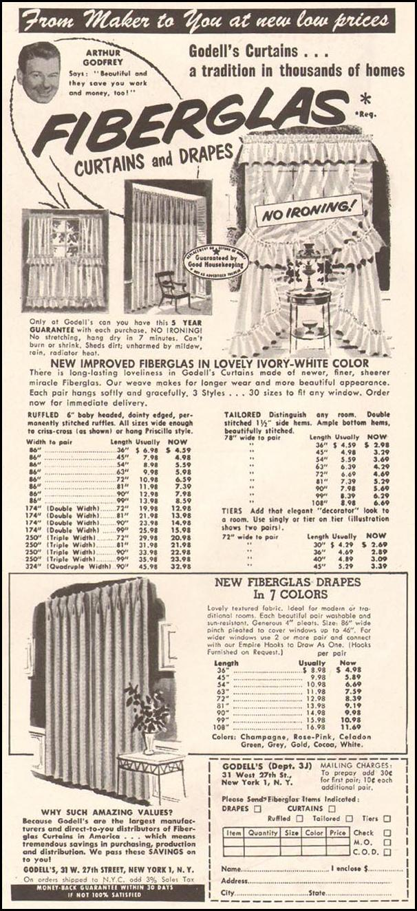 GODELL'S FIBERGLAS CURTAINS AND DRAPES LADIES' HOME JOURNAL 03/01/1954 p. 79