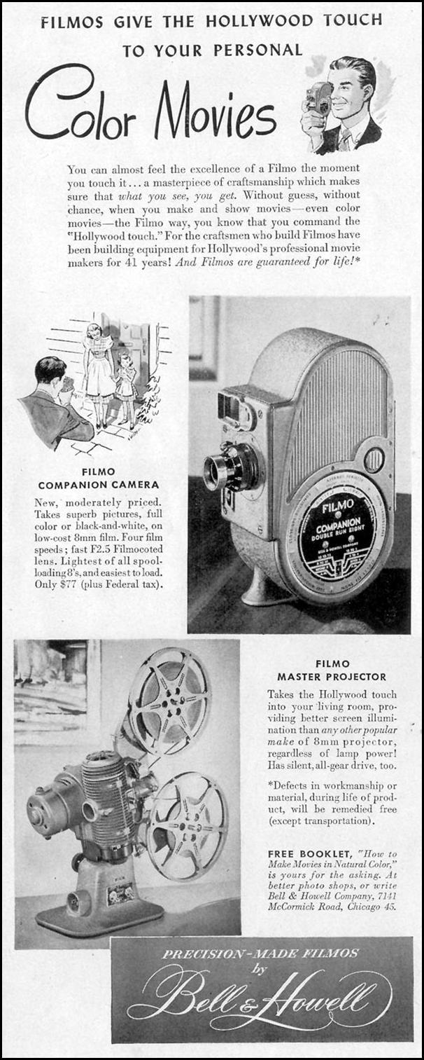 FILMO MOVIE CAMERAS AND PROJECTORS LIFE 11/15/1948 p. 90
