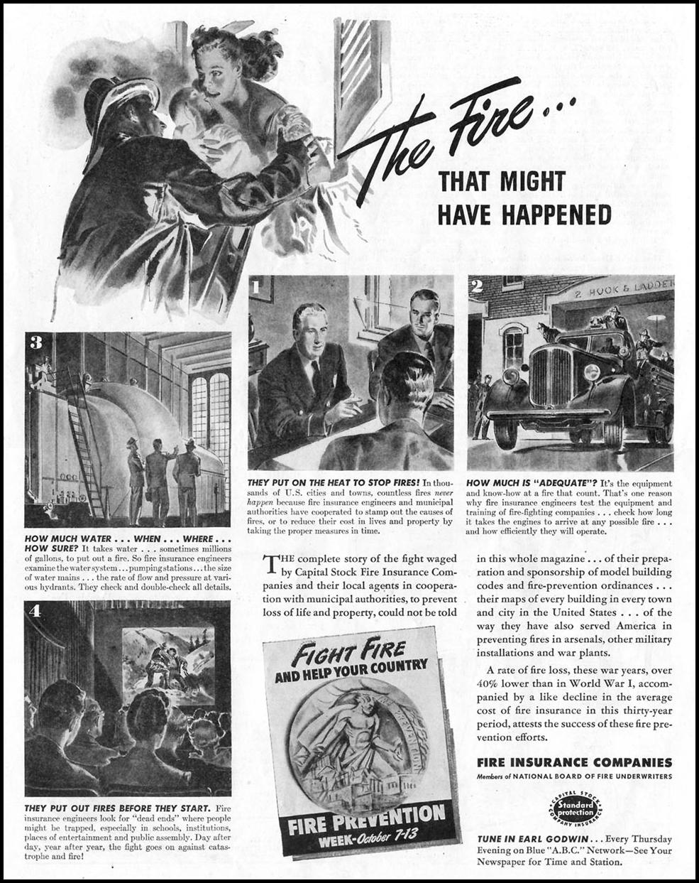 FIRE INSURANCE SATURDAY EVENING POST 10/06/1945 p. 74