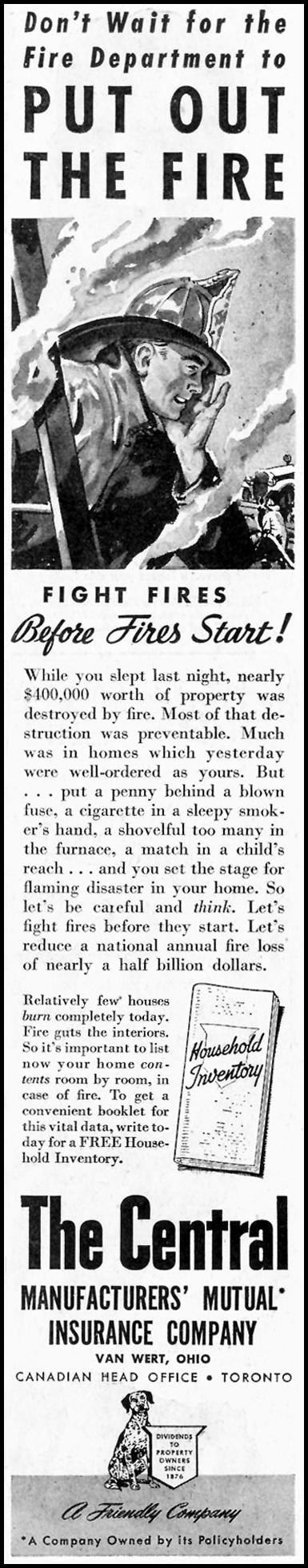 FIRE INSURANCE SATURDAY EVENING POST 10/06/1945 p. 81