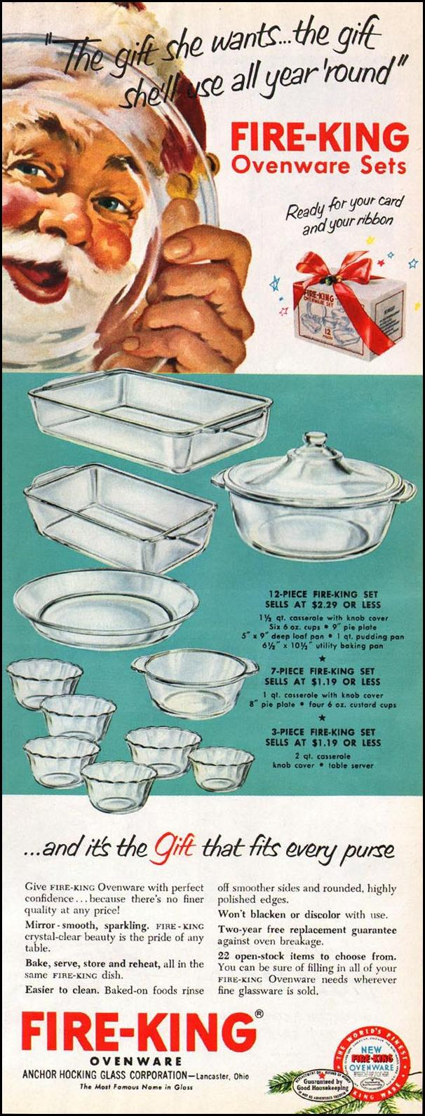 FIRE-KING OVENWARE WOMAN'S HOME COMPANION 12/01/1952 p. 97