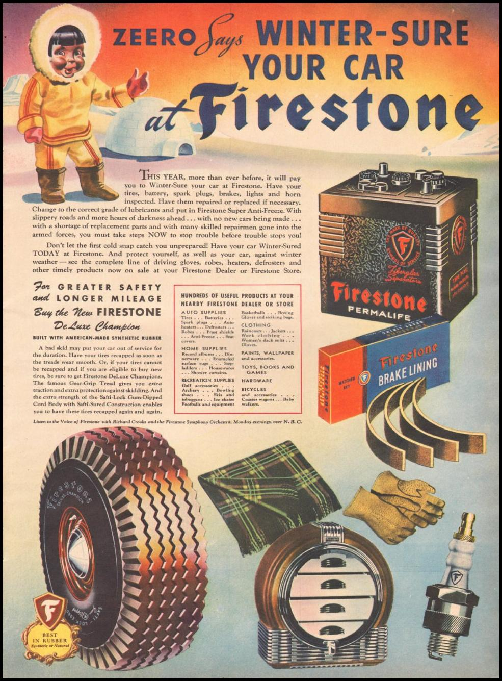 FIRESTONE TIRES LIFE 10/25/1943