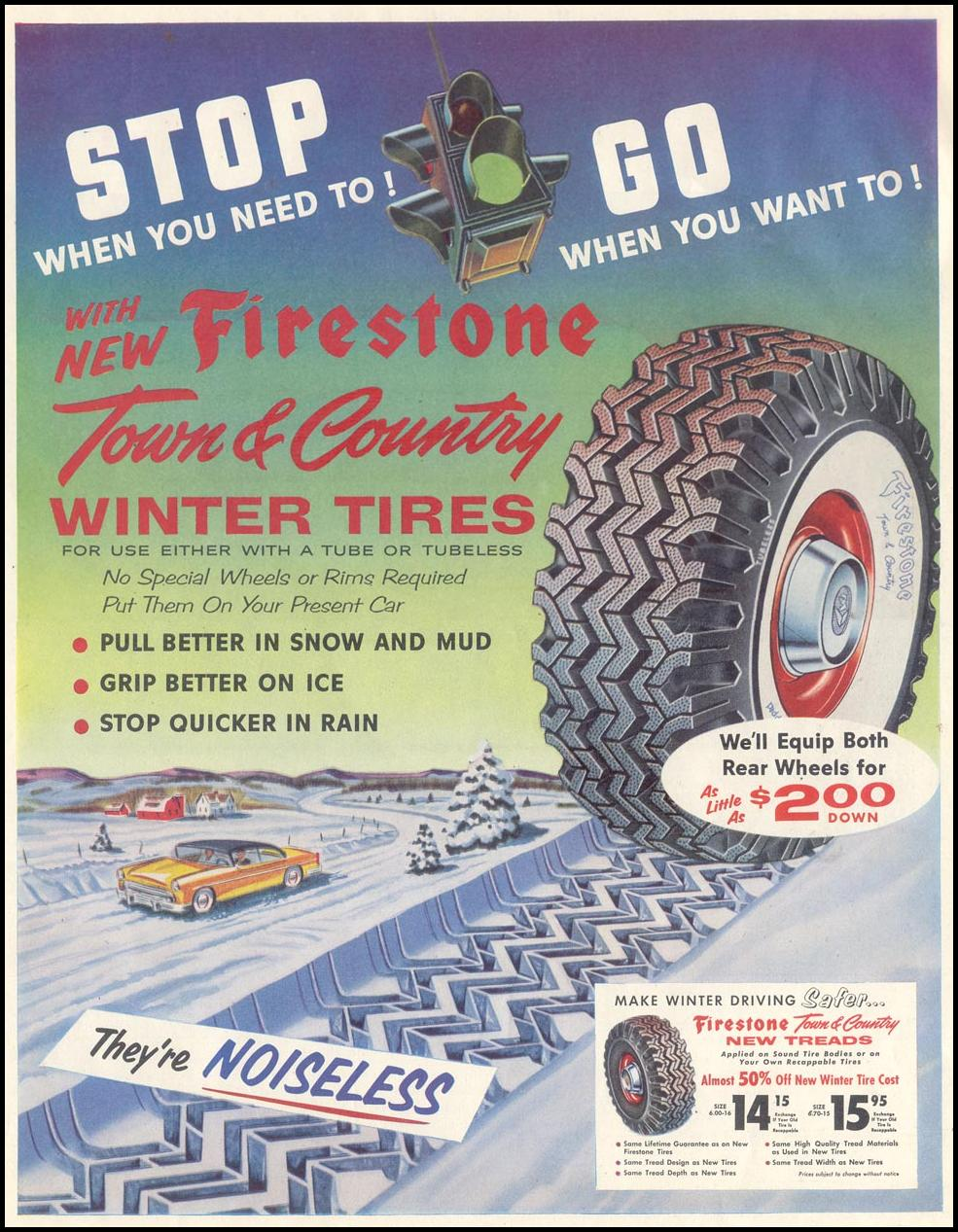 FIRESTONE TOWN & COUNTRY TIRES SATURDAY EVENING POST 12/10/1955