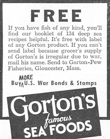GORTON'S FAMOUS SEA FOODS WOMAN'S DAY 04/01/1943 p. 63