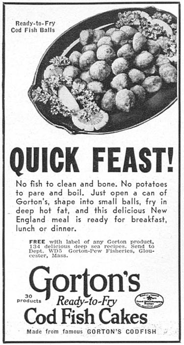 GORTON'S READY-TO-FRY COD FISH CAKES WOMAN'S DAY 05/01/1940 p. 46