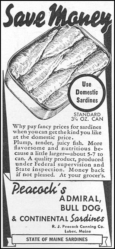 STATE OF MAINE SARDINES WOMAN'S DAY 05/01/1940 p. 58