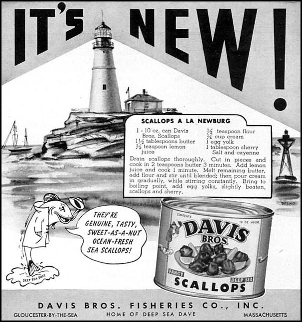 DAVIS BROS. SCALLOPS WOMAN'S DAY 09/01/1949 p. 105