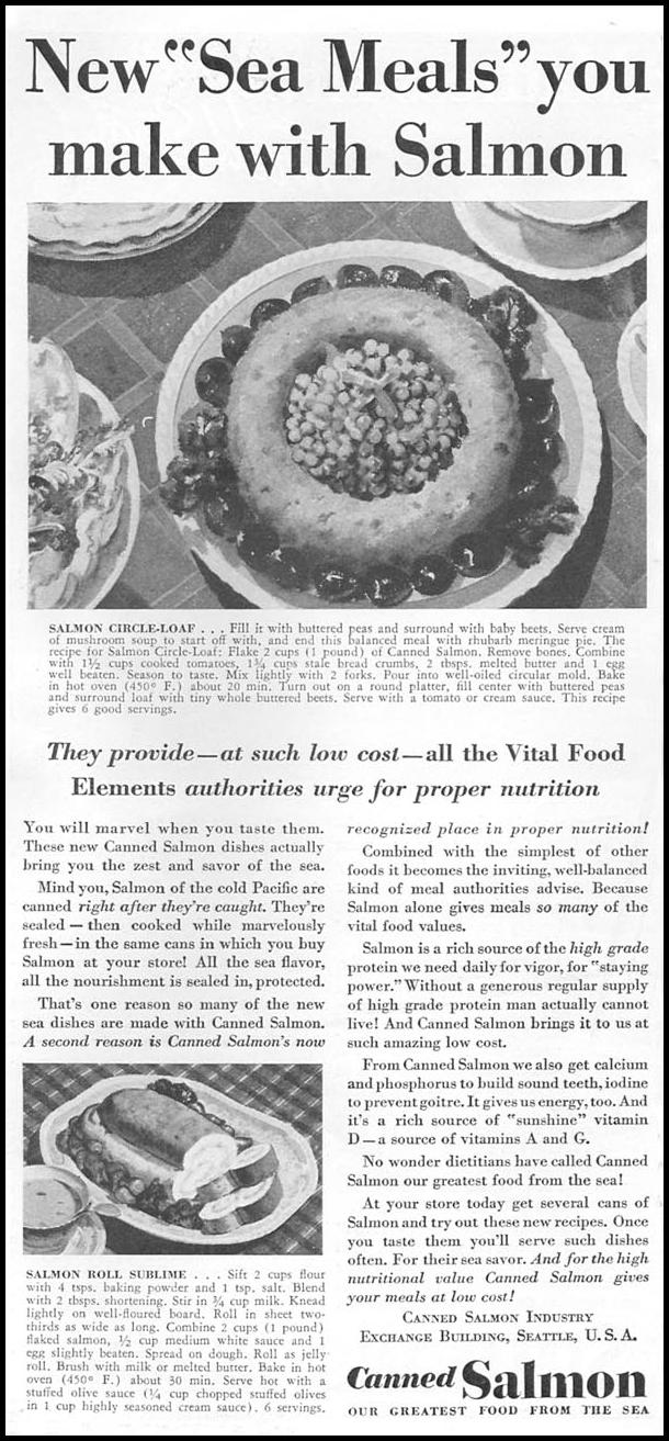 CANNED SALMON GOOD HOUSEKEEPING 04/01/1936 p. 178