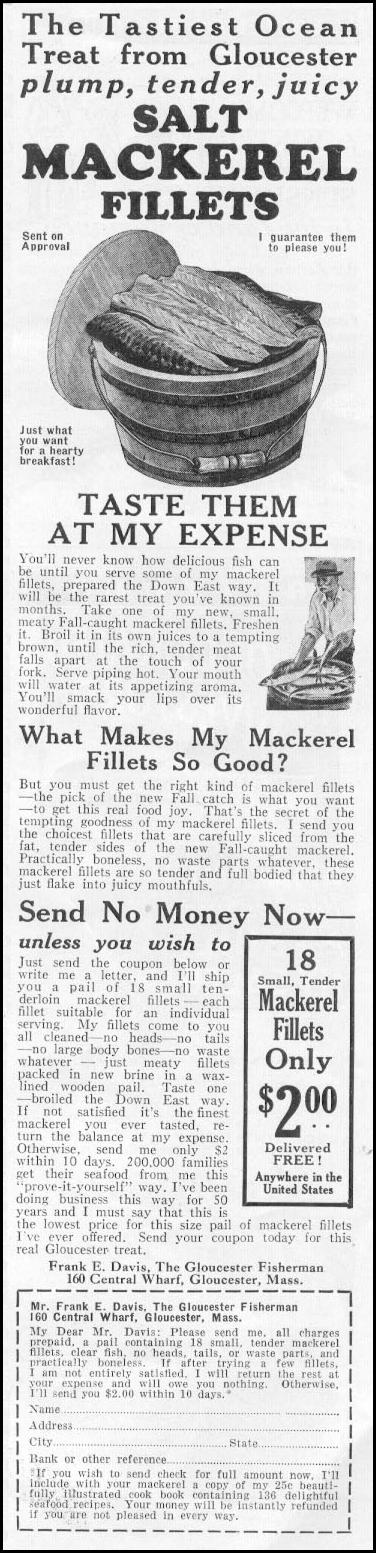 SALT MACKEREL FILETS NEWSWEEK 11/09/1935 p. 39