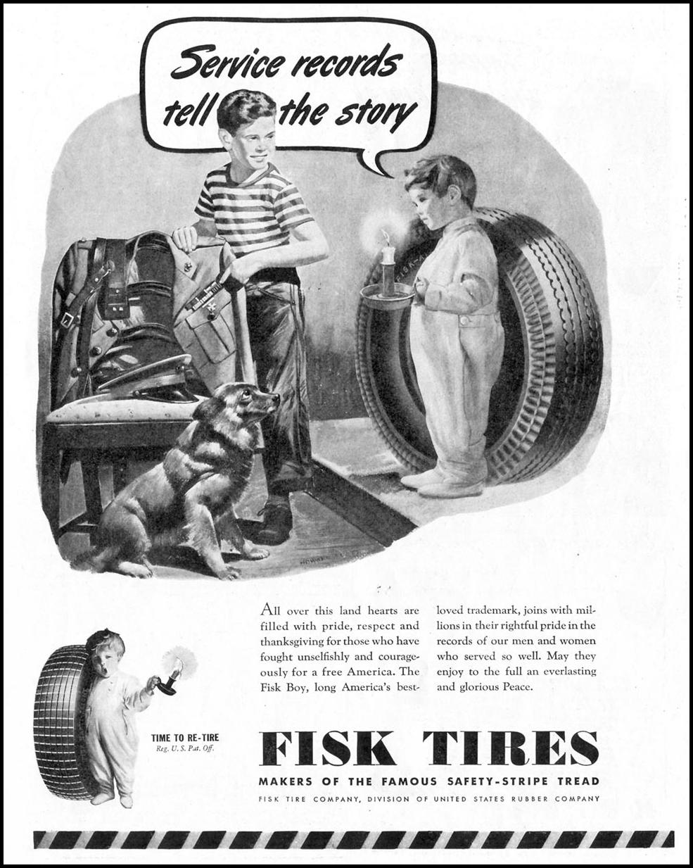 FISK TIRES SATURDAY EVENING POST 10/06/1945 p. 49