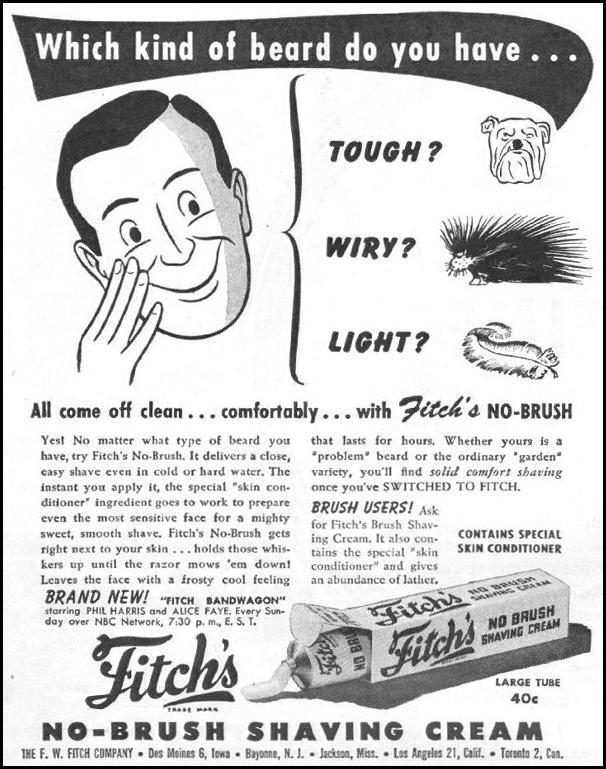 FITCH'S NO BRUSH SHAVING CREAM LIFE 11/25/1946 p. 104