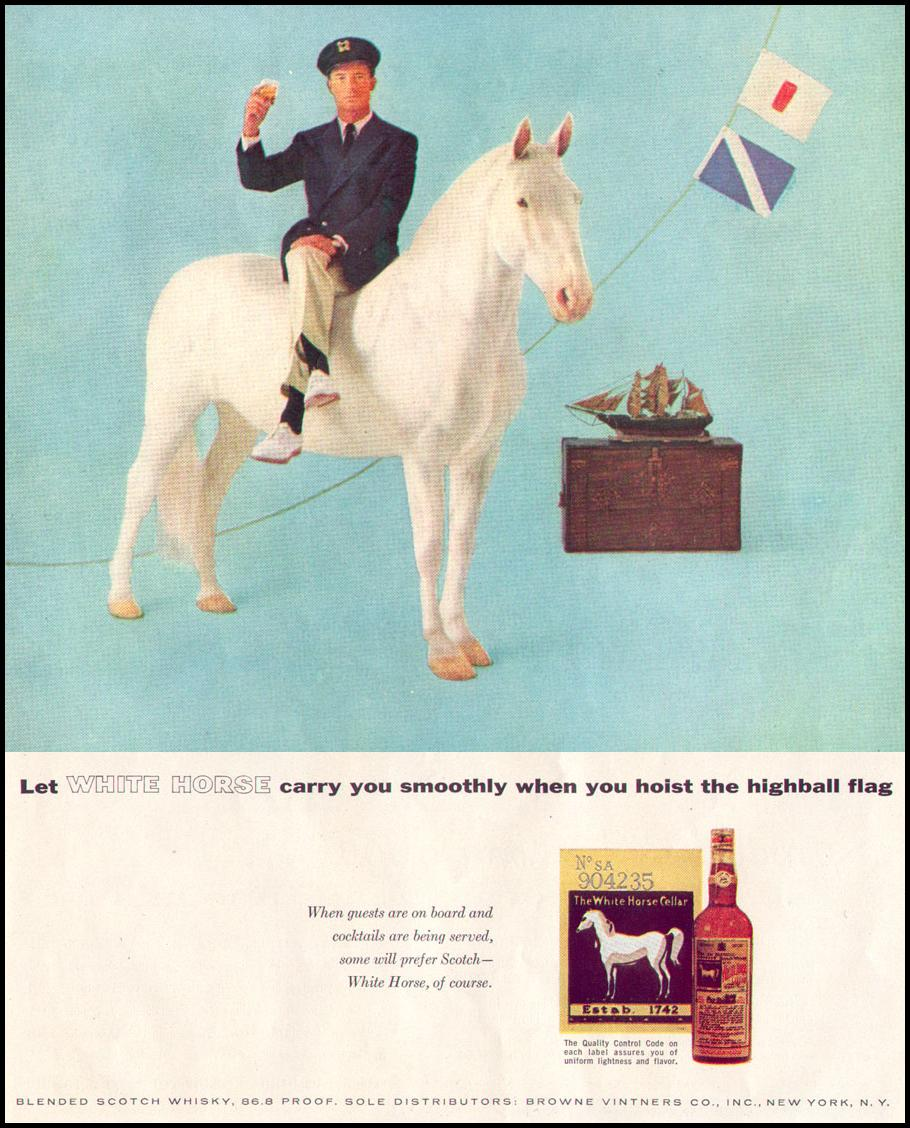WHITE HORSE BLENDED SCOTCH WHISKY LIFE 04/08/1957 p. 118