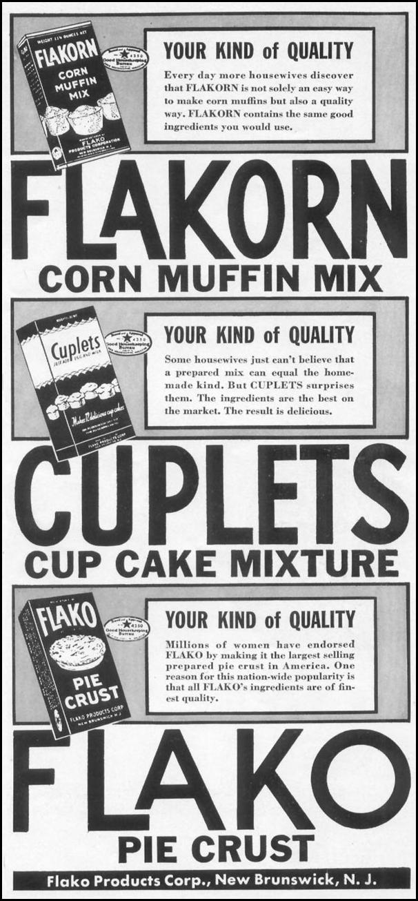 FLAKO BAKING PRODUCTS WOMAN'S DAY 04/01/1941 p. 47