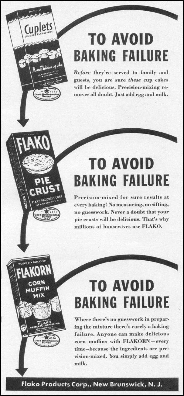 FLAKO BAKING PRODUCTS WOMAN'S DAY 05/01/1941 p. 65